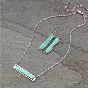 Natural Stone Bar Necklace & Earrings Set